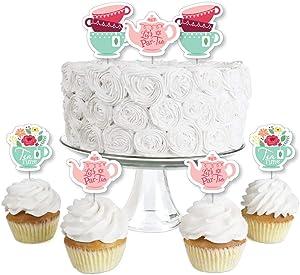 Big Dot of Happiness Floral Let's Par-Tea - Dessert Cupcake Toppers - Garden Tea Party Clear Treat Picks - Set of 24