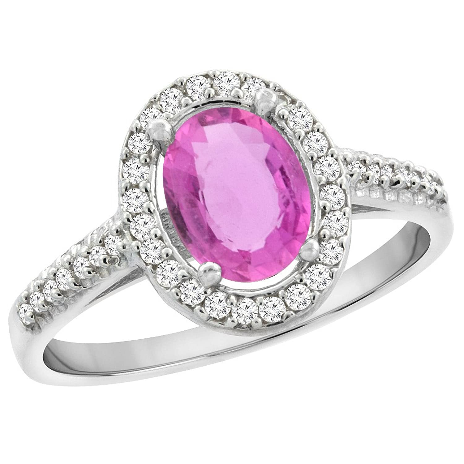 10K White Gold Natural Pink Sapphire Engagement Ring Oval 7x5 mm ...