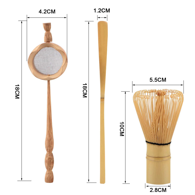 Regalo Ideal para los Amantes del t/é tamiz Juego de 3 Piezas de t/é Matcha de bamb/ú Hecho a Mano con batidor Cuchara