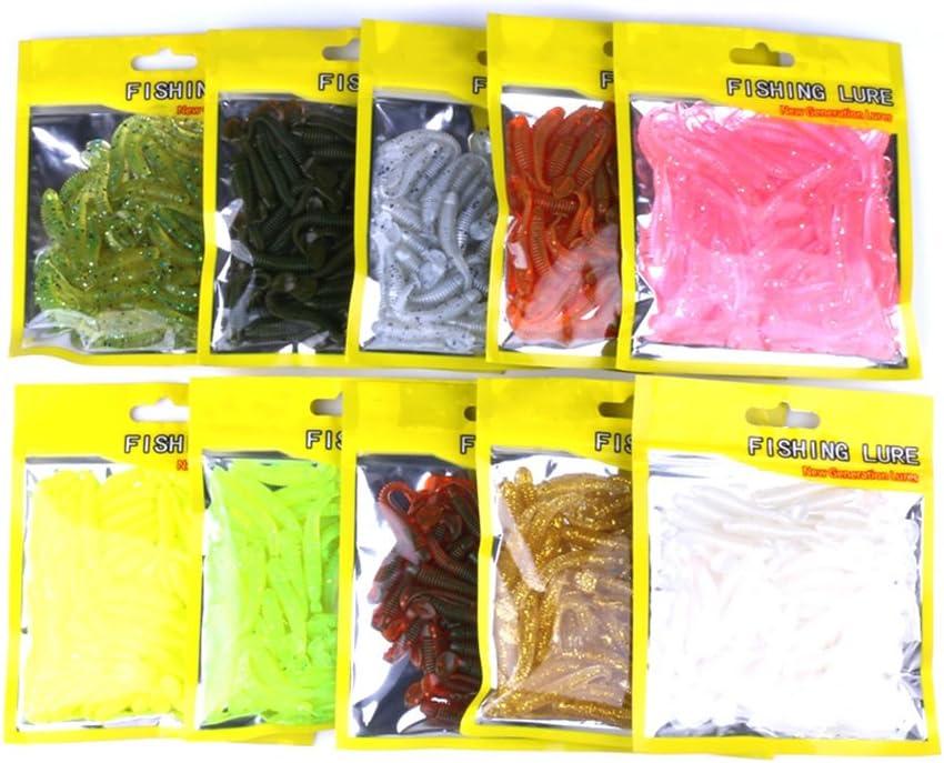 Idyandyans Spiral T Pesce Esca Artificiale Molle di richiamo a Righe Pesca Worm Spinning softbaits Arnesi Strumenti Fiume