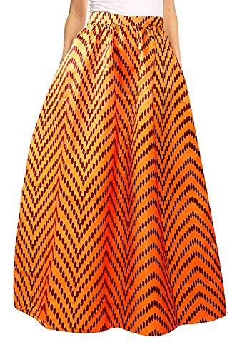 Dot Print Skirt (Novia's Choice Women African Floral Print Pleated High Waist Maxi Skirt Casual A Line Skirt(Yellow Dot),Medium)