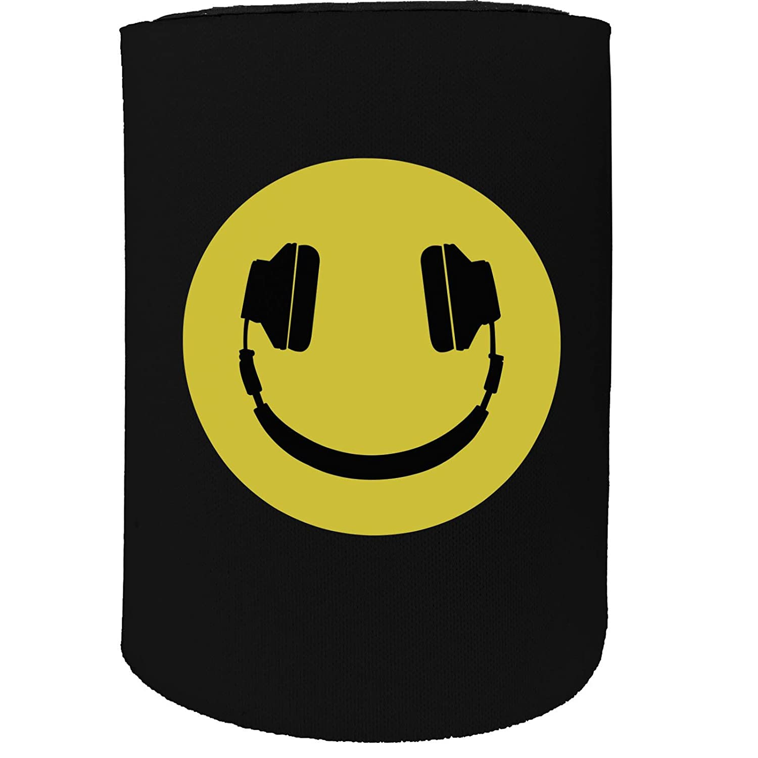123t Stubby Holder - Headphone Smiley Dj Face Rave - Funny Novelty Birthday Gift Joke Beer Can Bottle Coolie Koozie Stubbie