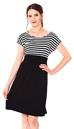 Simplicity Womenu0027s Maternity Summer Baby Shower Dress Short Sleeves,  Blk/White