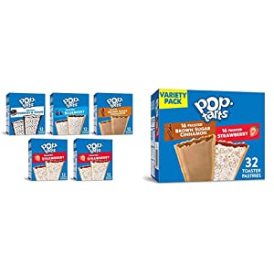 Pop-Tarts, Breakfast Toaster Pastries, Variety Pack, 6.3lb Case (60 Count) & Breakfast Toaster Pastries, Variety Pack, Proudly Baked In the USA, 54.1oz Box (1 Pack 32Count)