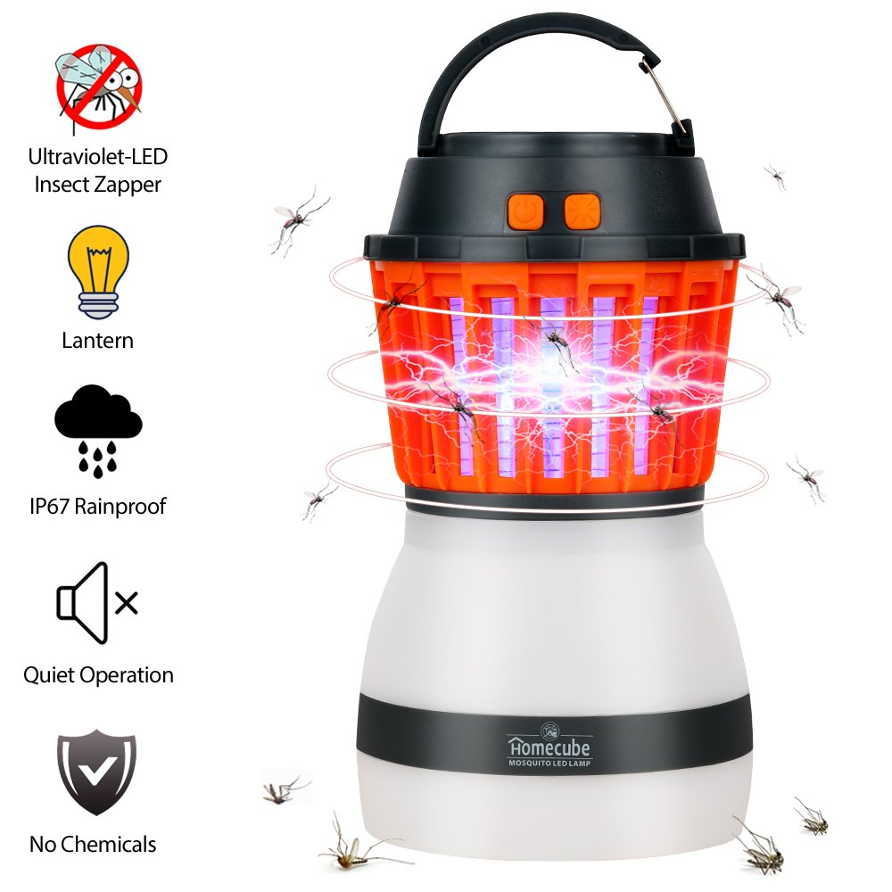 Homecube Bug Zapper&Camping Lantern IP67 Rainproof 2-in-1 Insect Zapper with LED Tent Lantern USB Rechargeable&Portable Mosquitoes Killer for Indoor&Outdoor Camping Hiking Traveling Emergencie(Black)