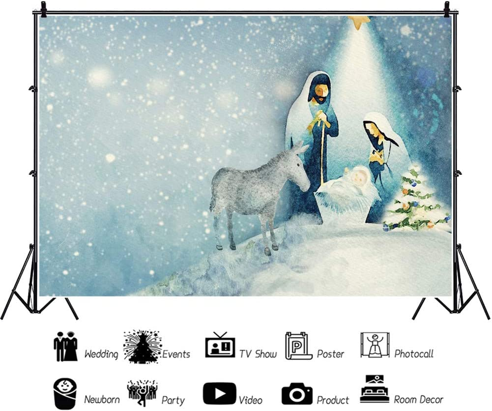 Leowefowa Nativity Scene Watercolor Painting Backdrop 10x8ft Vinyl Meteor Shine On Neborn Jesus Virgin Mary Shepherd Photography Background Christmas Party Banner Church Sanctuary Decor Wallpaper