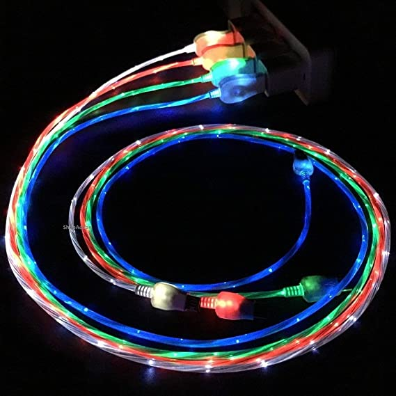 Flowing LED Glow in the Dark Light Up Visible Charging Cable 8 pin for iPhone 5, iPhone 6, iPhone 6 Plus (Blue)