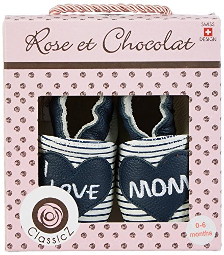 Rose & Chocolat I Love Mom - Zapatillas de casa Bebé-Niños Blau (navy Stripes)
