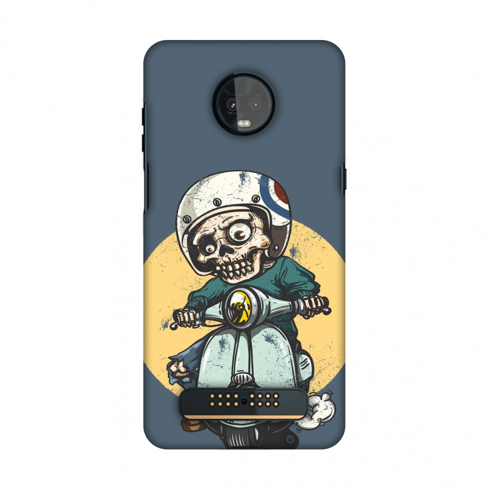 AMZER Slim Fit Handcrafted Designer Printed Snap on Hard Shell Case Back Cover Skin for Motorola Moto Z3 Play - Love for Motorcycles 1 HD Color