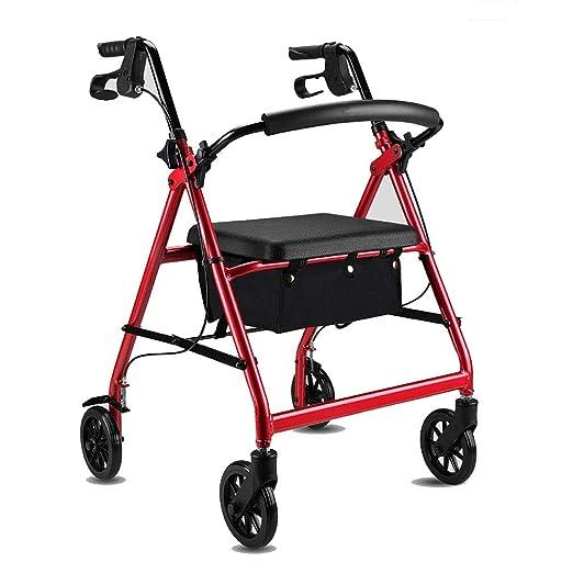 Andador con ruedas plegable con asiento acolchado y bolsa de ...