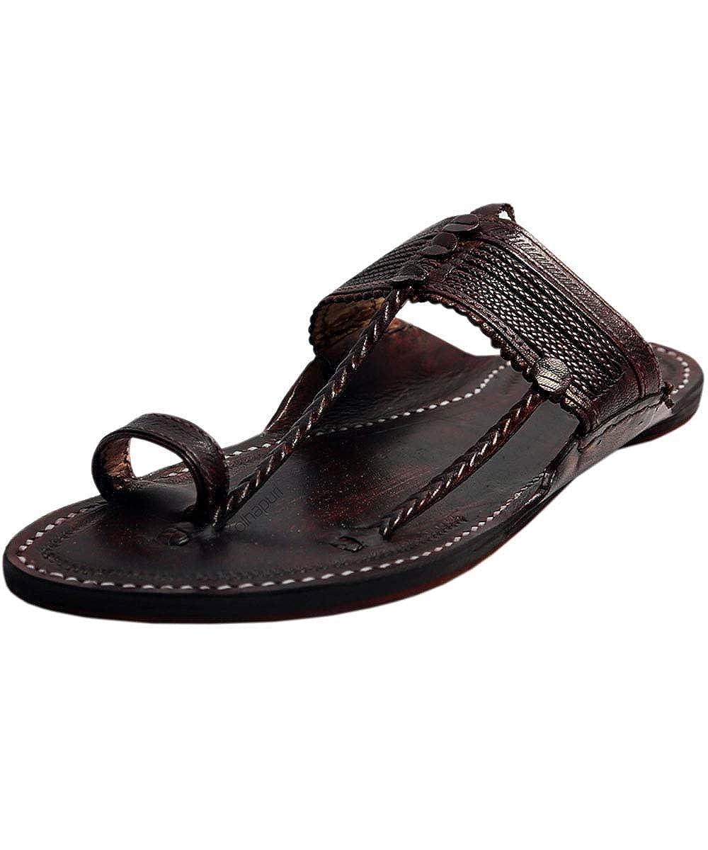 41167581cd6f6 eKolhapuri Handmade Authentic Genuine Kapshi Dark Brown Leather Kolhapuri  Chappal for Men