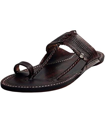 a83e02461715 eKolhapuri Handmade Authentic Genuine Kapshi Dark Brown Leather Kolhapuri  Chappal for Men Size US-10