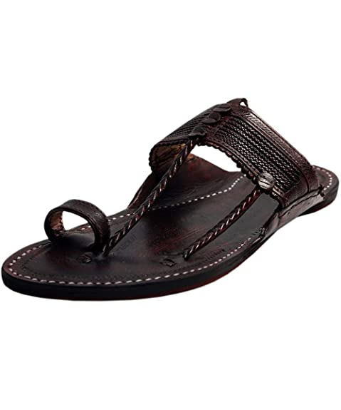 ec3bc33e0b1 eKolhapuri Handmade Authentic Genuine Kapshi Dark Brown Leather Kolhapuri  Chappal for Men Size US-6