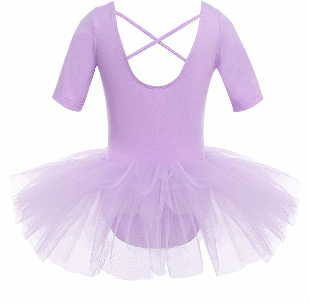 iiniim Girls Short Sleeve Tulle Ballet Dresses Dance Leotard Tutu Skirt Ballerina Dancewear Dancing Costumes