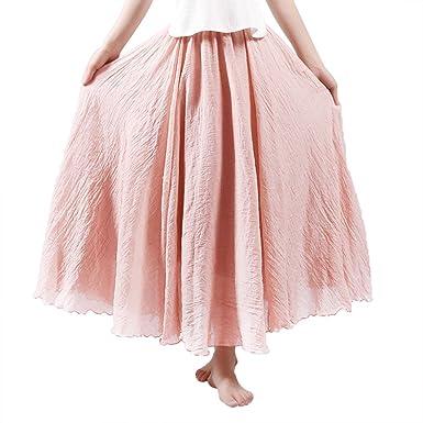 c614372d0603b2 Röcke für Damen Leinen Lange Röcke Bunt Maxi Röcke Doppelschicht Elastisch  Knöchellänge 37