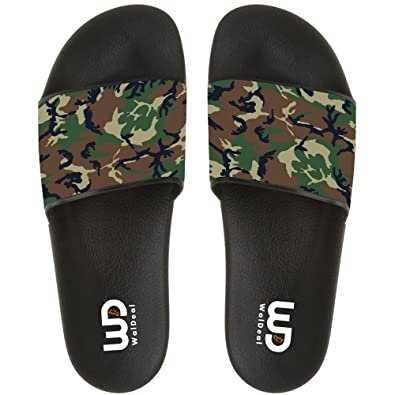 ff74902e4 Military Camouflage Slide Sandal For Mens Womens Soft Comfortable Non-slip  Bathroom Shower Beach Slippers