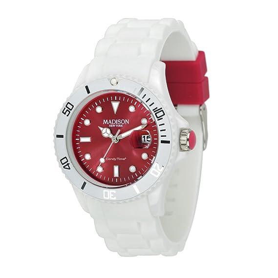 Madison New York SU4359R8 - Reloj analógico de cuarzo unisex con correa de silicona, color blanco: Amazon.es: Relojes