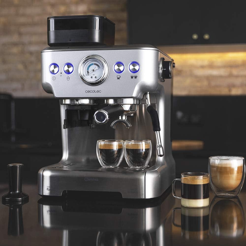 Cecotec Cafetera Cumbia Power Espresso 20 Barista Aromax. Potencia 2900 W, 2 Sistemas de Calentamiento, Bomba de presión de 20 Bares,manómetro, portafiltros con Doble Salida y 2 filtros: Amazon.es: Hogar