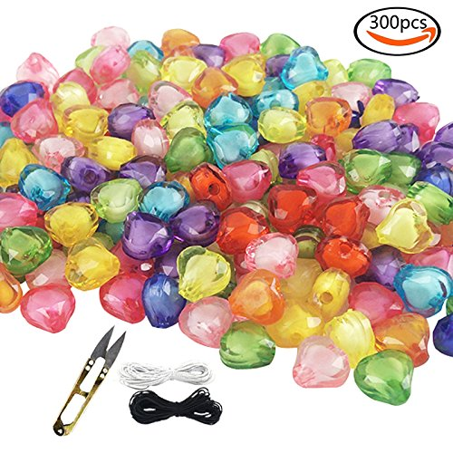 White Heart Beads (WXBOOM 300pcs 10mm Assorted Colorful Acrylic Beads in Beads Translucent Heart Beads with 1 Pair of Scissors, 1 Black and 1 White Cord)