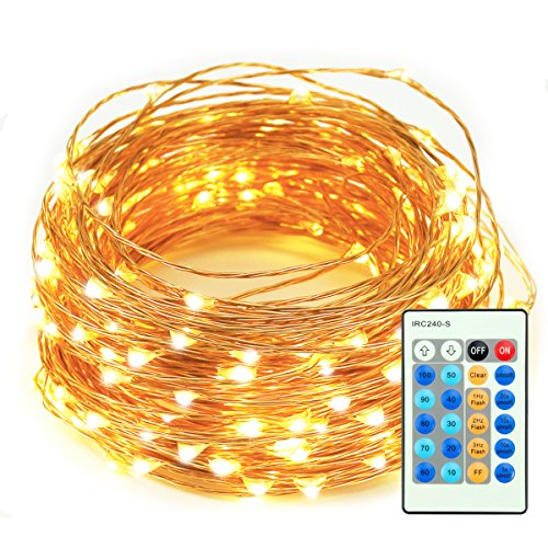 LED String Lights, 33ft 100 LEDs Remote Control with Dimmable Amysen Complete Waterproof Decorative Lights for Bedroom, Patio, Wedding, Garden, Party (Warm White, Copper Wire Lights )
