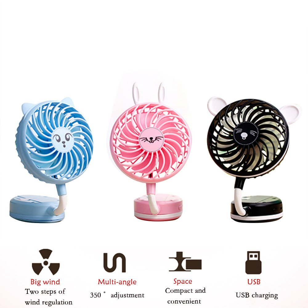 PAWACA Mini Handheld Fan,Foldable Personal Portable Fan Desk Desktop Table Cooling Fan with USB Rechargeable Battery Operated Electric Fan for Home Office Travel(Black)