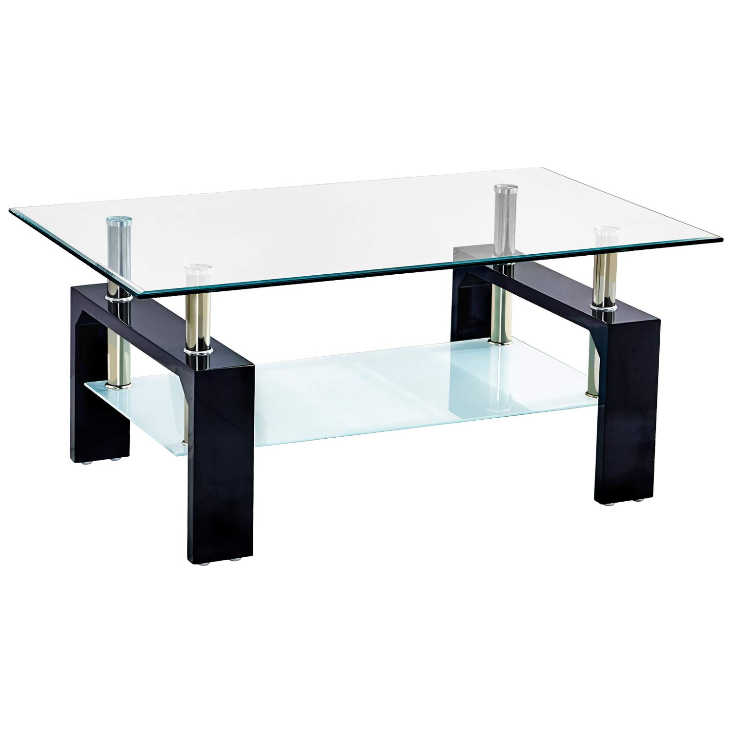 Trustiwood Rectangular Tempered Glass Coffee Table Tea Tale Wood and Chrome End Side Table with 2-Tier Shelf Suit for Living Room Office Modern Home Furniture Black by Trustiwood