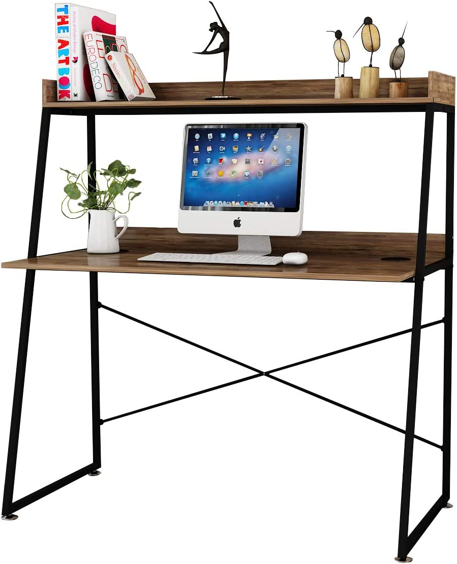 BOLDSTUFF Industrial Desk with Bookshelves, 48 inches Computer Desk with Small Hutch, Home Office Desk with Space Saving Design for Small Spaces (Archaize Brown)…