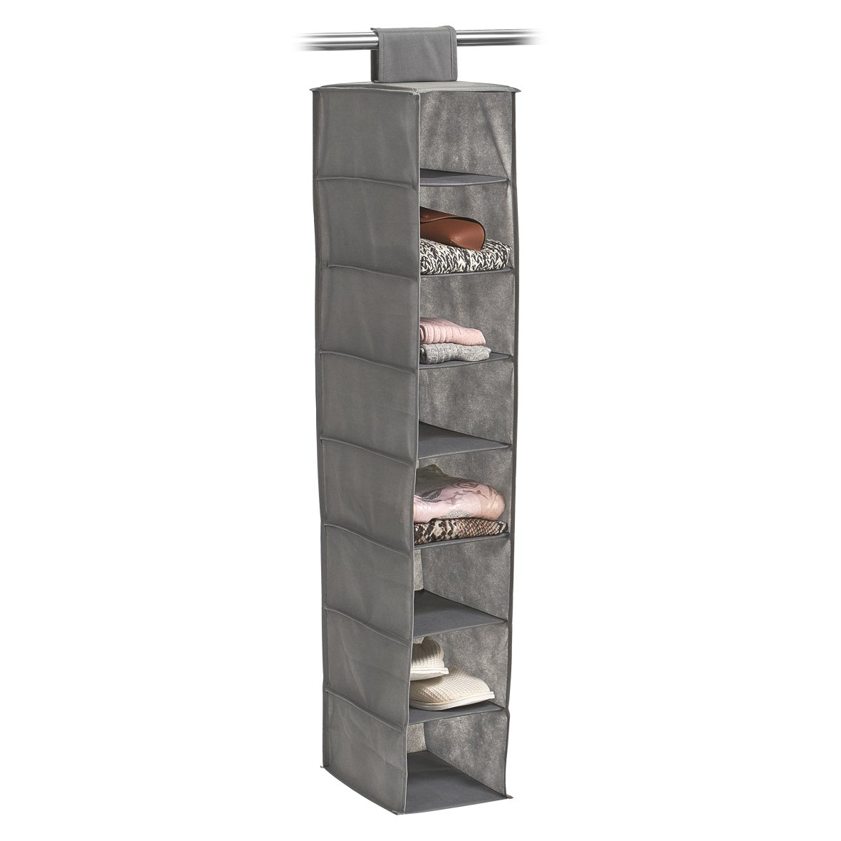 Zeller 14614Colgantes de Almacenamiento, 8Compartimentos, Papel, plástico, Gris, 18x 30x 105cm Zeller Present