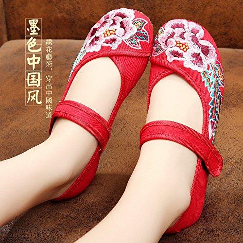 folk madre di le KPHY piazza ricamato scarpe stile di le scarpe gules scarpe rosse da scarpe una ballo wXAtAqO