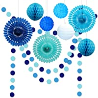 10pcs Under The Sea Theme Blue Party Decorations Kit Boy Birthday Circle Banner Garlands Bunting Paper Fan Flower Pom…