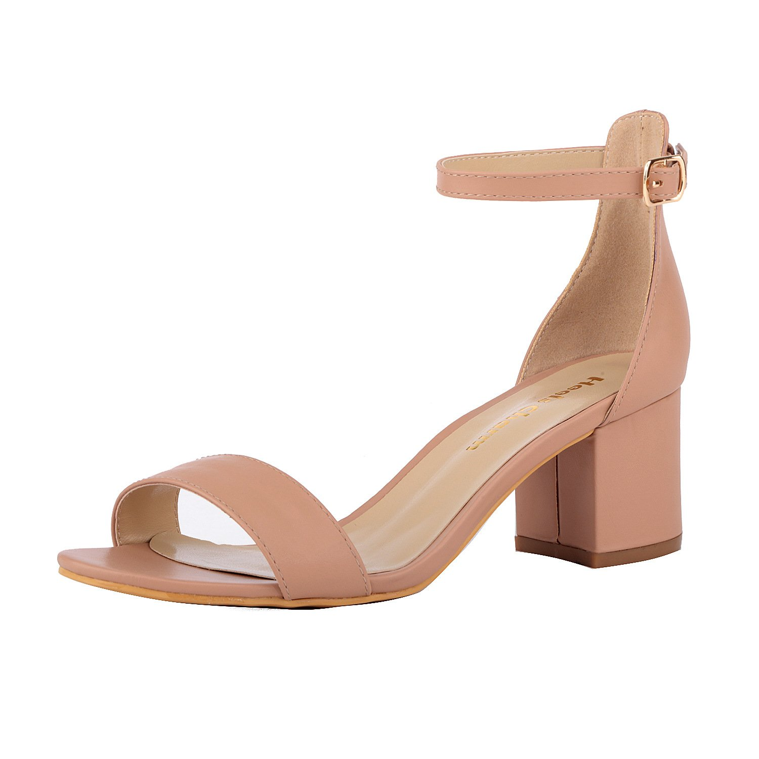 Nude Women's Strappy Chunky Block Low Heeled Sandals 2 Inch Open Toe Ankle Strap High Heel Dress Sandals Daily Work Party shoes