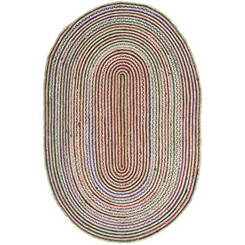 Safavieh Cape Cod Collection CAP251A Hand Woven Natural and Multicolored Jute Oval Area Rug (4' x 6') (Black Oval Braided Rug)