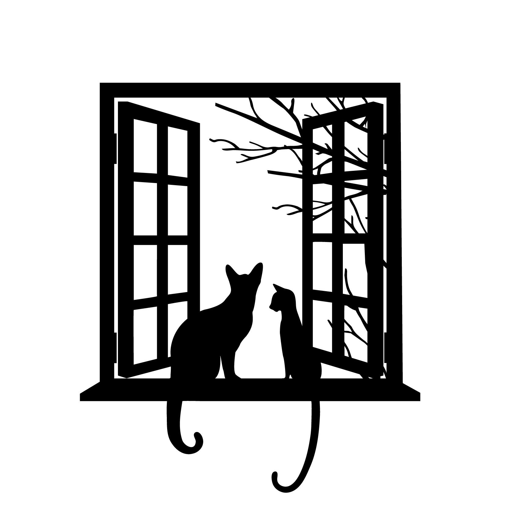 Cats Looking Through Window - Black - Vinyl Wall Art Decal for Homes, Offices, Kids Rooms, Nurseries, Schools, High Schools, Colleges, Universities, Events