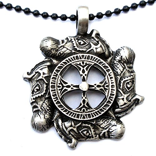 Viking Pendant warrior Solar Cross Warrior Faces Pewter W Black Ball Chain ()