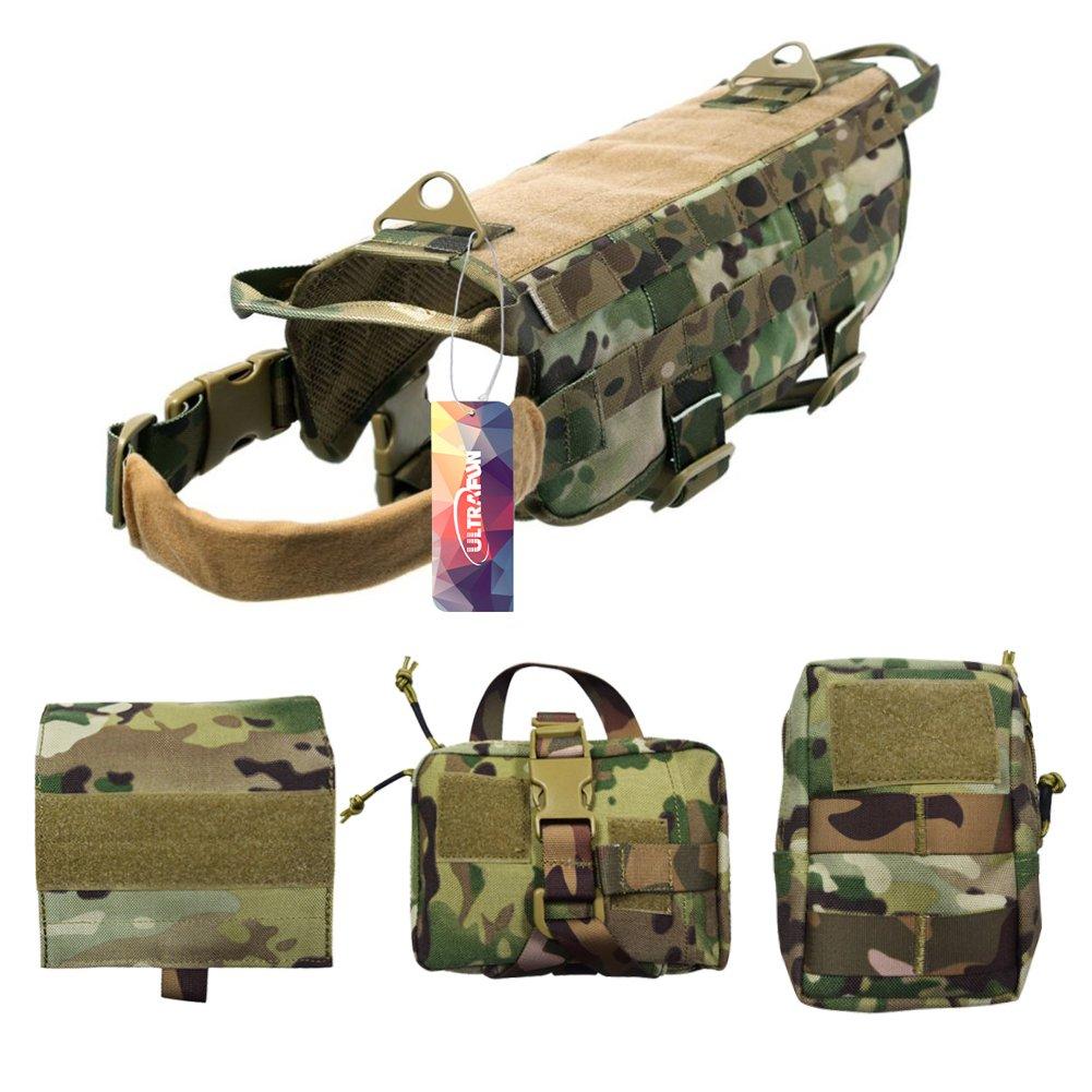 Camo L Camo L Ultrafun Tactical Dog Molle Harness Nylon Training Patrol Vest Packs with 3 Detachable Pouches (L, Camo)
