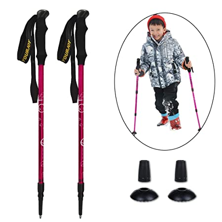 YOURJOY 2 Pack Children Climbing Trail Trekking Hiking Poles Ultralight 2 Sections Aluminum Alloy with mud Basket Rubber Cap