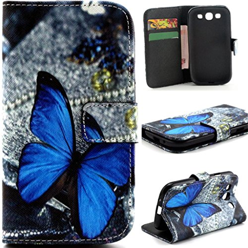 Gift_Source S3 Case, Galaxy S3 III i9300 Flip Case, [Stand Feature] Case Wallet [Wallet S] Premium Wallet Case Flip Cover for Samsung Galaxy S3 III i9300 - Blue Butterfly Pattern (Galaxy S3 Cases Wallet)