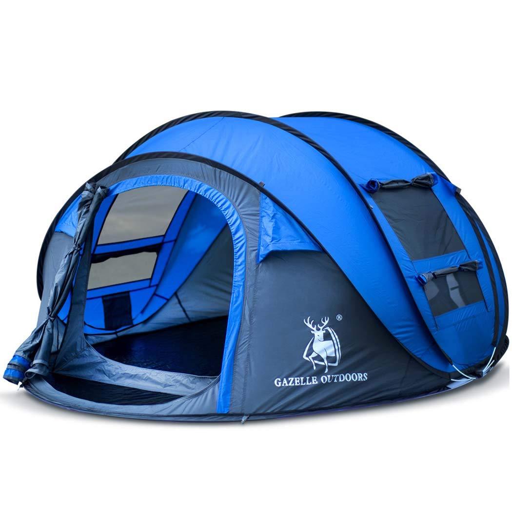MISS&YG Tente de Plage Pop-up, UV-Proof Portable 3-4 Personnes Pliant Parasol Soleil auvent lumière Alpinisme Camping Plage auvent Cabine Sac à Dos Pop-up Tente bleu -