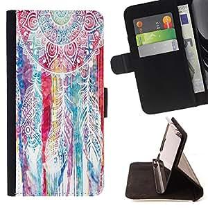 King Art - Premium-PU-Leder-Prima caja de la PU billetera de cuero con ranuras para tarjetas, efectivo Compartimiento desmontable y correa para la mu?eca FOR Sony Xperia Z3 Compact- Dream Catcher DreamCatcher