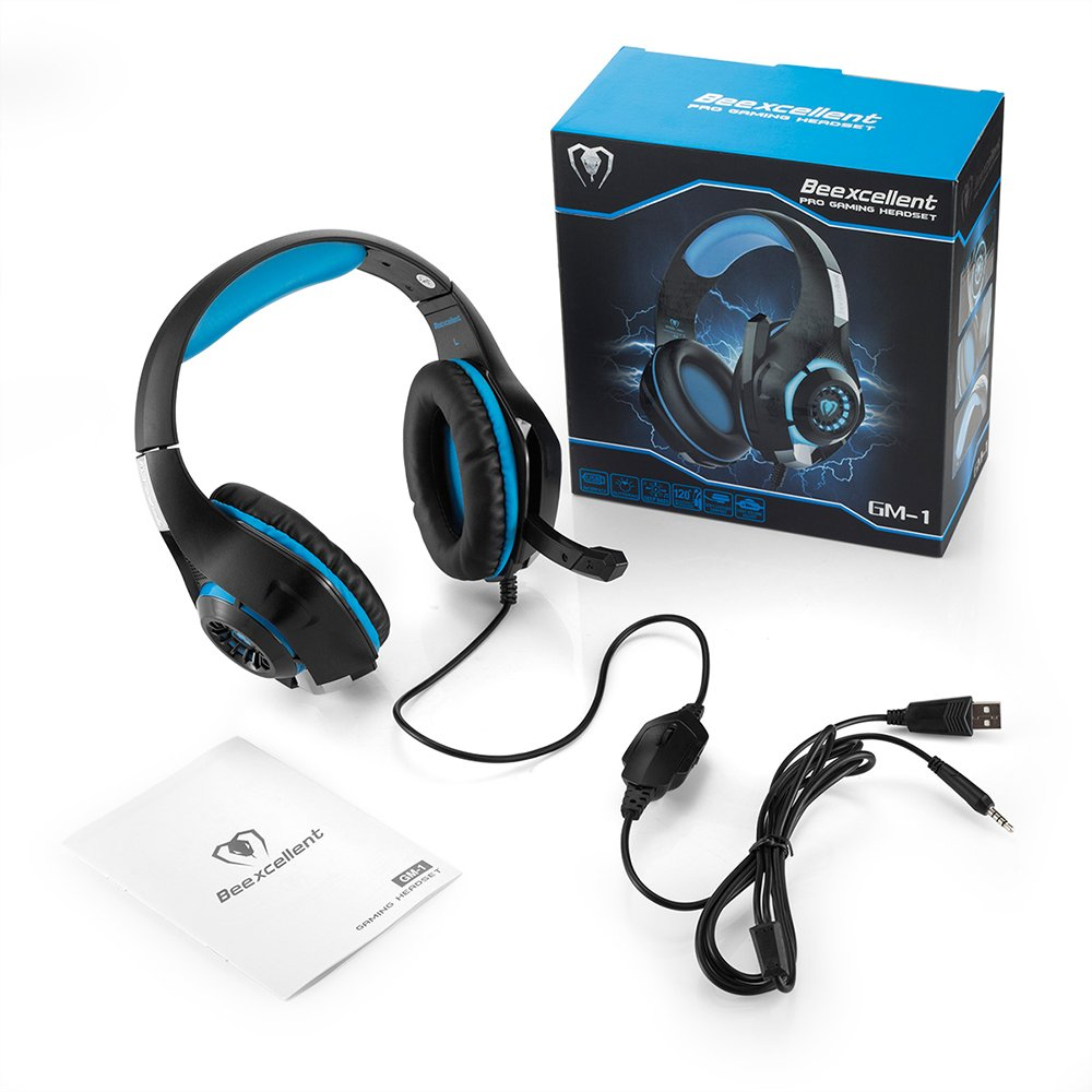 Beexcellent GM-1 Gaming Headset, Stereo Gaming Headphones Noise Isolation/LED Light/Bass Surround Over-ear/Mic USB & 3.5mm Wired for PS4 Xbox one PC (Blue) by Beexcellent (Image #3)