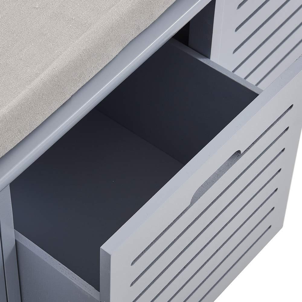 Keinode Storage Panca con 2 cassetti 2 Lavabile Cestino Hall