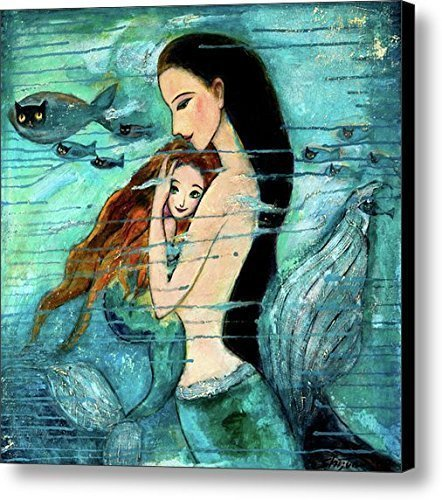 - Modern Oil Painting Print Art Animal Painting Mermaid Pattern on Canvas Wall Art Home Decoration Unframe 20 x 20 in
