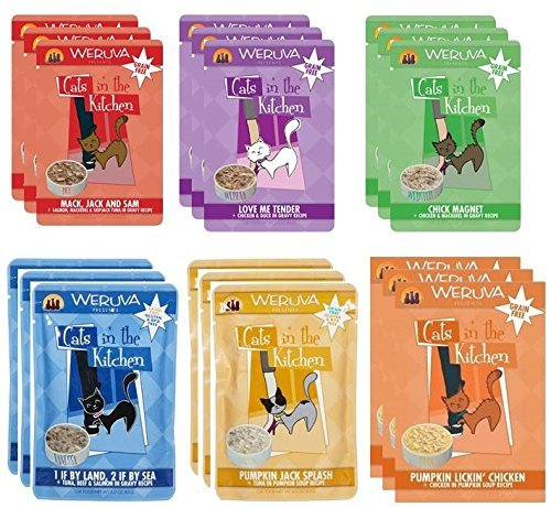 Weruva Cats In The Kitchen Variety Pack Pouches (All 6 Recipes, 18 Pack)