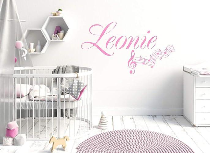 Wandschnörkel® Wandtattoo Mit Namen HM~AA382 +Noten Mix Set Wunschnamen Kinderzimmer  Türschild Baby