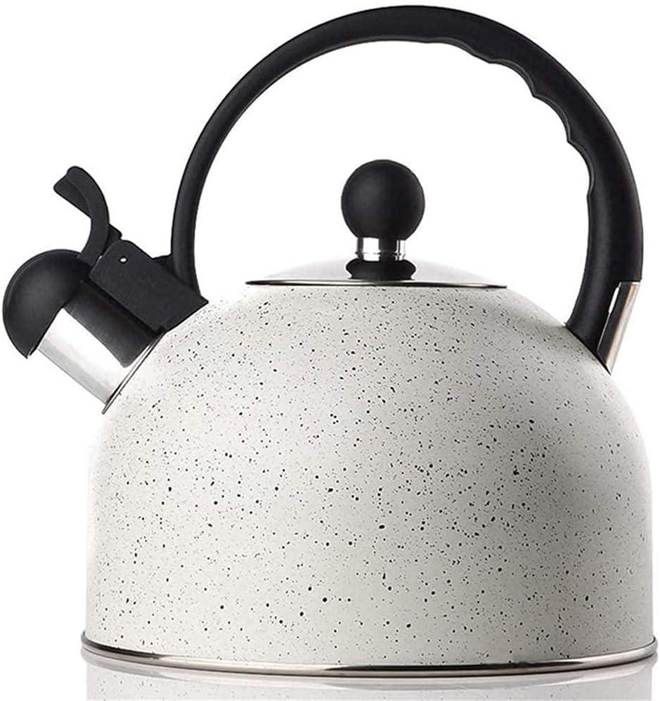 Tetera de té de Silbato Tetera de Acero Inoxidable para Estufa Top Piedra de inducción Hervidor de café con Mango Anti-Caliente Blanco