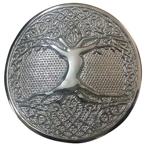 AAR Tree Celtic Round Kilt Belt Buckle Antique/ Chrome Finish/Belt Buckles -