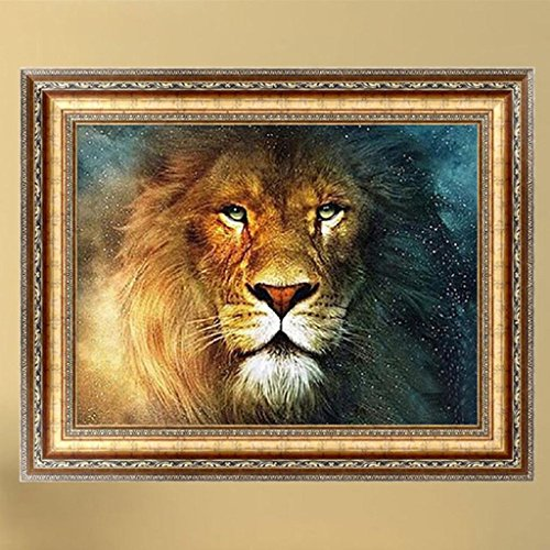 Bottone DIY 5D Diamond Painting Pictures Kit Rhinestone Pasted Embroidery Crystals Cross Stitch Arts Craft Supply Handcrafted Gift for Christmas Home Wall Decor,Lion