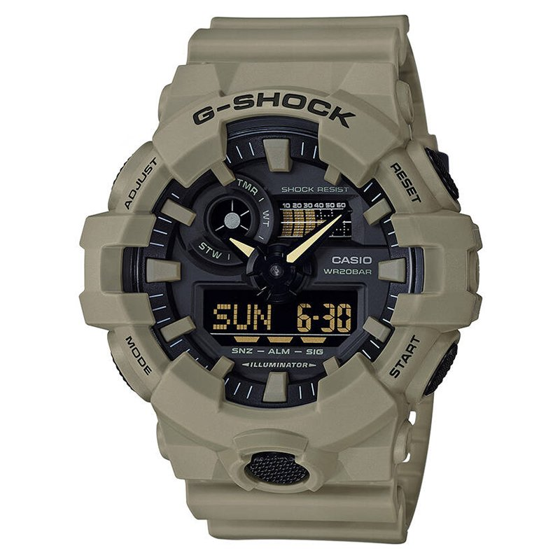 Casio Men's 'G SHOCK' Quartz Resin Casual Watch, Color Beige (Model: GA-700UC-5ACR)