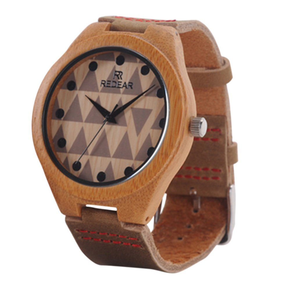 Etbotu Casual Couples Wooden Watch Round Dial Clock Quartz Watch with Leather Strap for Men and Women