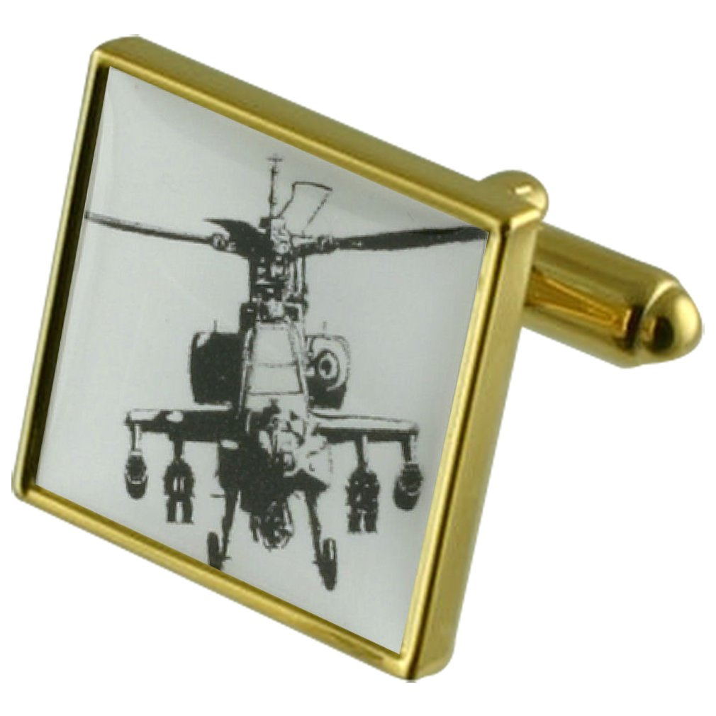 Apache Helicopter Gunship Gold-tone Square Cufflinks with Select Gifts Pouch